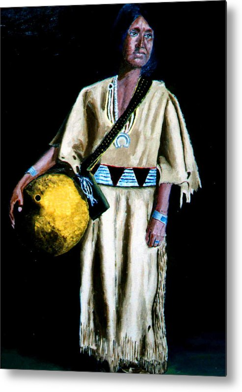 Indian Metal Print featuring the painting Indian Maiden by Stan Hamilton
