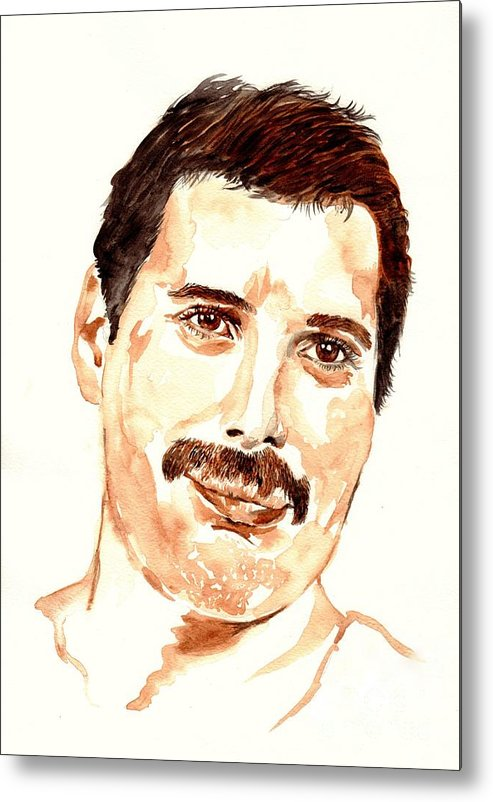 Freddie Metal Print featuring the painting Freddie Mercury portrait by Suzann Sines