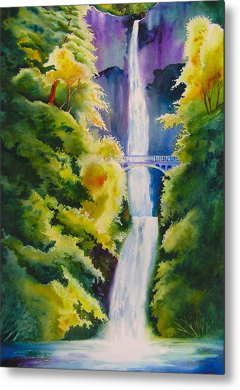 Waterfall Metal Print featuring the painting A Favorite Place by Karen Stark