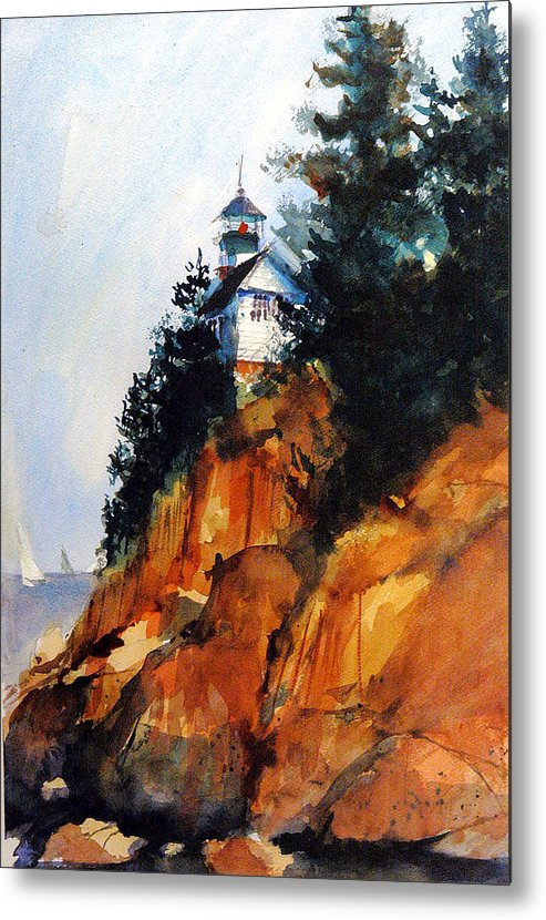 Acadia. Acadian Metal Print featuring the painting Acadian Lighthouse by Charles Rowland
