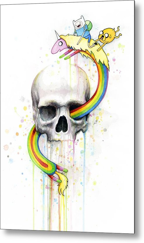 Adventure Metal Print featuring the painting Adventure Time Skull Jake Finn Lady Rainicorn Watercolor by Olga Shvartsur