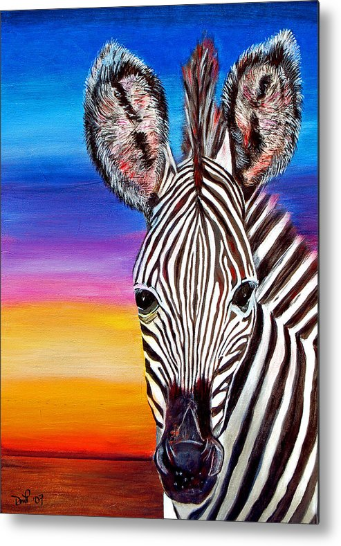 Zebra Metal Print featuring the painting African Zebra Aura by Donna Proctor