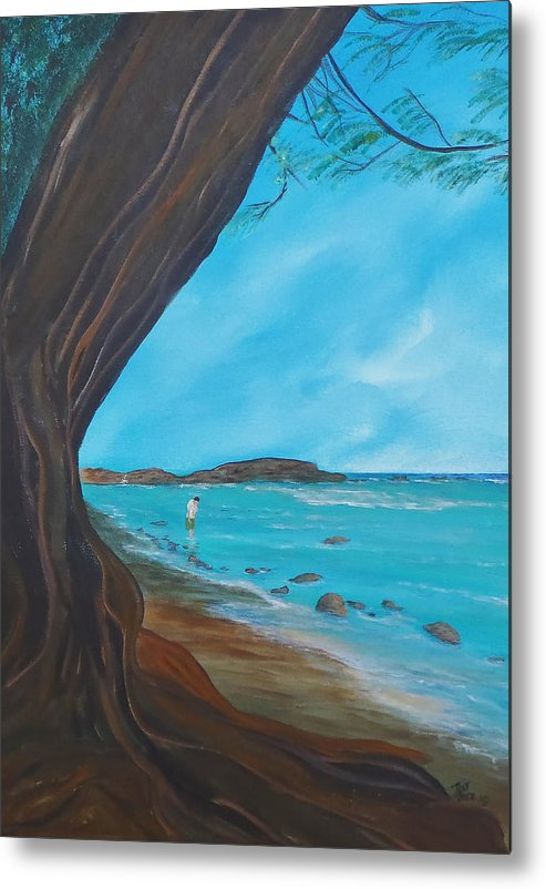 Seascape Metal Print featuring the painting Alone on the Beach by Tony Rodriguez