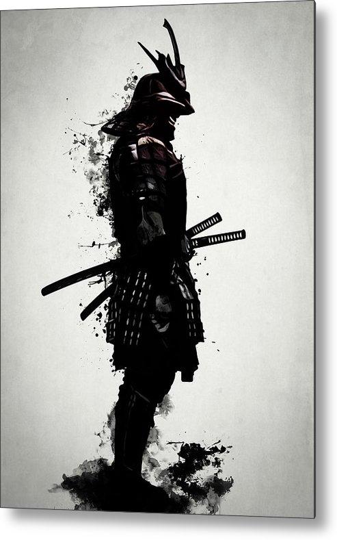Samurai Metal Print featuring the mixed media Armored Samurai by Nicklas Gustafsson