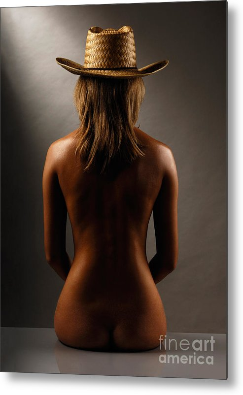 Woman Metal Print featuring the photograph Bare Back Of A Woman In A Straw Hat by Maxim Images Prints