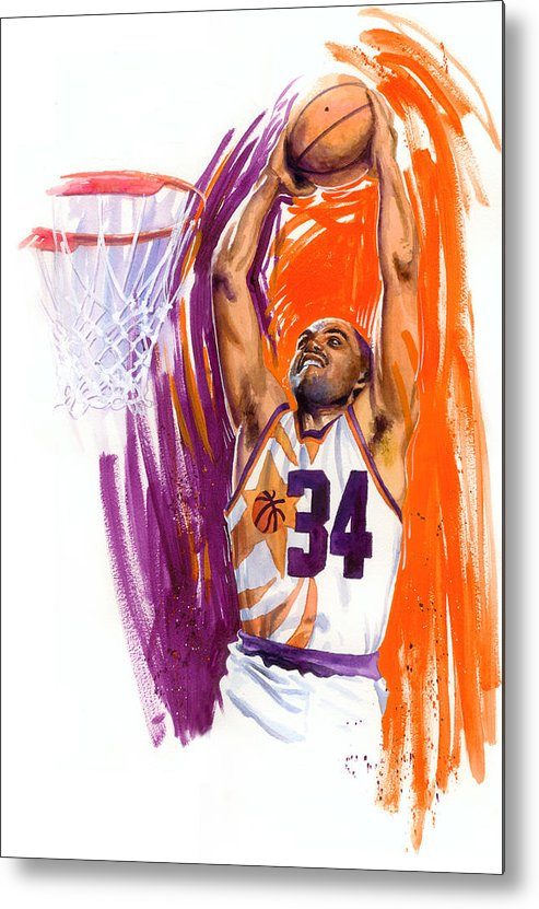 Charles Barkley Metal Print featuring the painting Barkley by Ken Meyer jr