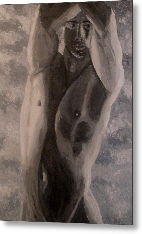 Male Nude Metal Print featuring the painting Between the arms by Mats Eriksson