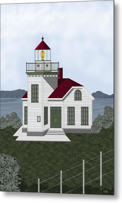 Burrows Island Lighthouse Metal Print featuring the painting Burrows Island Lighthouse by Anne Norskog