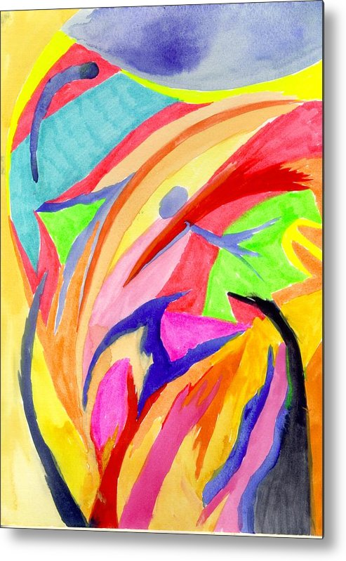 Abstract Metal Print featuring the painting Cancun 5 by Peter Shor