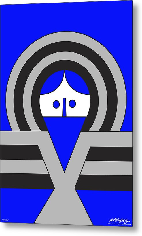 Christ Blue Metal Print featuring the digital art Christ Blue by Asbjorn Lonvig