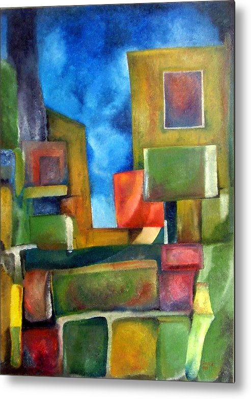 Abstract Metal Print featuring the painting City by Jonatan Kor