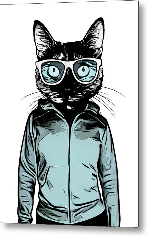 Cat Metal Print featuring the mixed media Cool Cat by Nicklas Gustafsson