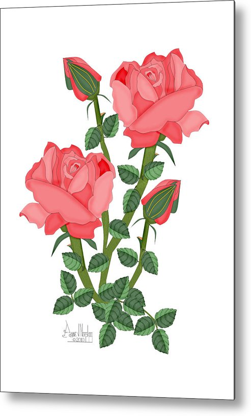 Pink Roses Metal Print featuring the painting Daiquiri Roses in January 2010 by Anne Norskog
