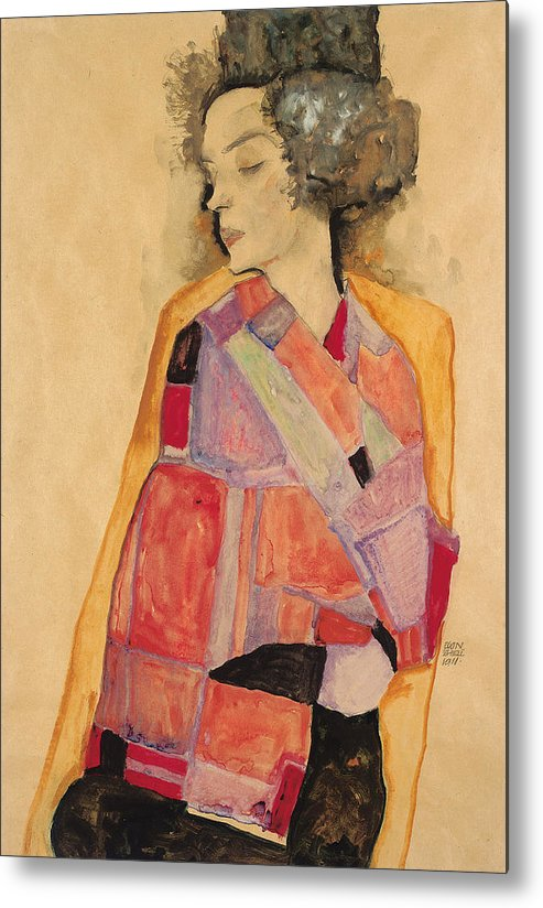 Schiele Metal Print featuring the painting Dreaming Woman by Egon Schiele
