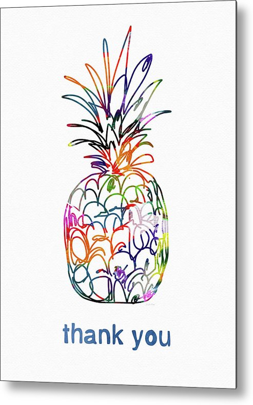 Pineapple Metal Print featuring the mixed media Electric Pineapple Thank You Card- Art by Linda Woods by Linda Woods