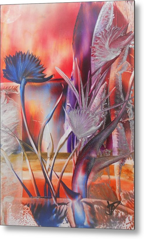 Abstract Floral Metal Print featuring the painting Elegant by John Vandebrooke