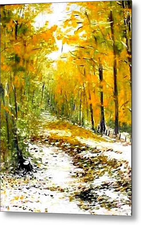 Landscape Metal Print featuring the painting First Snow by Boris Garibyan