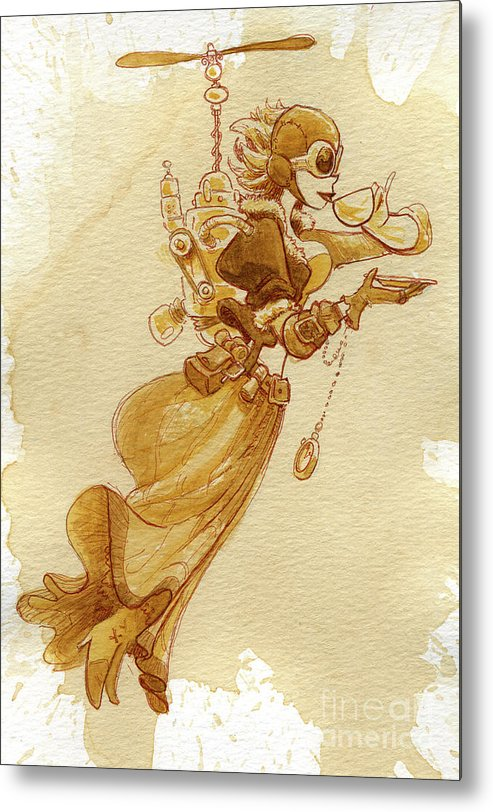 Steampunk Metal Print featuring the painting Flight by Brian Kesinger