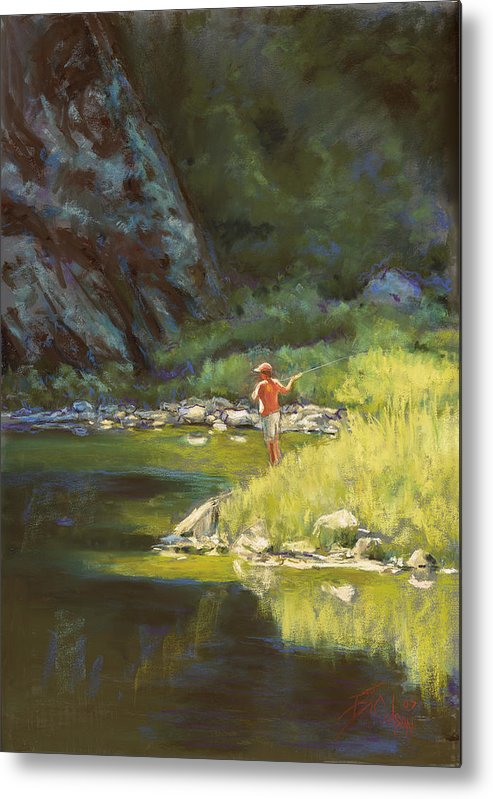 Fly Fisherman Metal Print featuring the painting Fly Fishing by Billie Colson