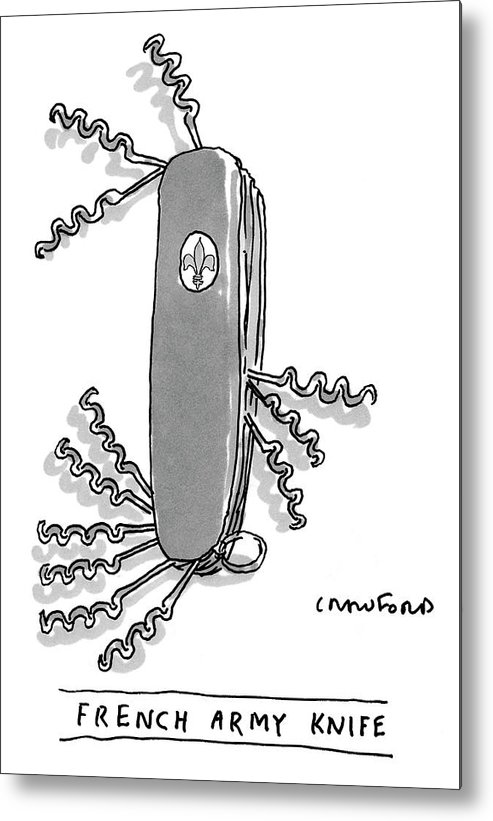 Swiss Army Knife Metal Print featuring the drawing French Army Knife by Michael Crawford