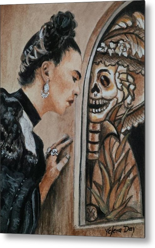 Frida Metal Print featuring the painting Frida Catrina by Yelena Day