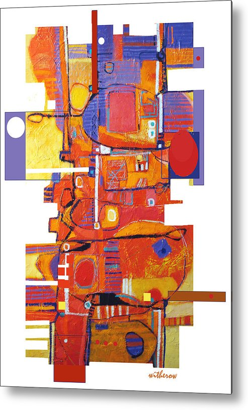 Abstract Metal Print featuring the digital art Geo Hopscotch by Dale Witherow