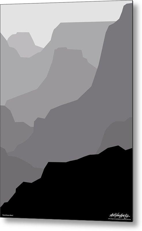 Grand Canyon Black Metal Print featuring the digital art Grand Canyon Black by Asbjorn Lonvig