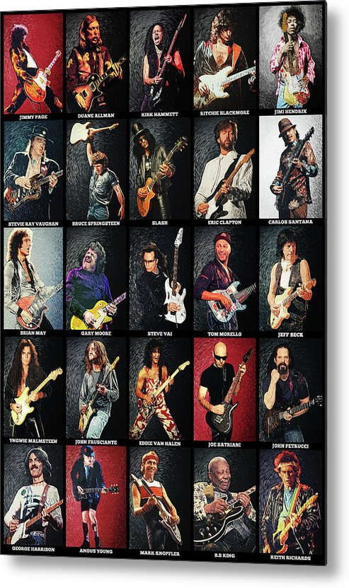 Guitar Metal Print featuring the digital art Greatest Guitarists Of All Time by Zapista OU