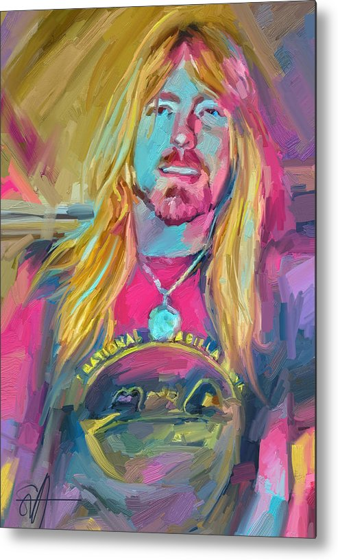 Gregg Allman Music Portrait Musician Rock Metal Print featuring the digital art Gregg by Scott Waters