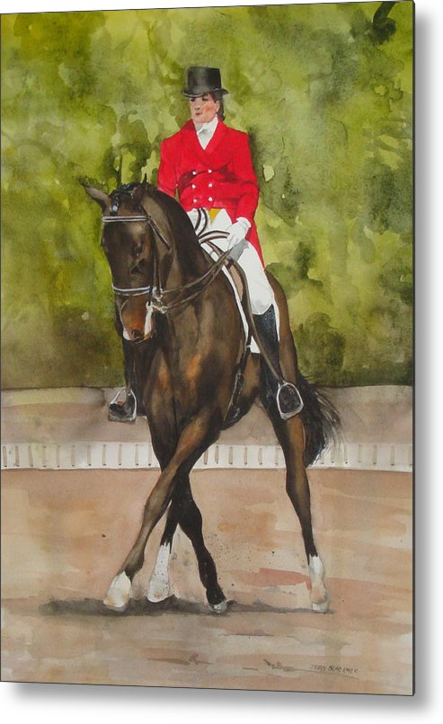 Horse Metal Print featuring the painting Half-Pass To The Right by Jean Blackmer