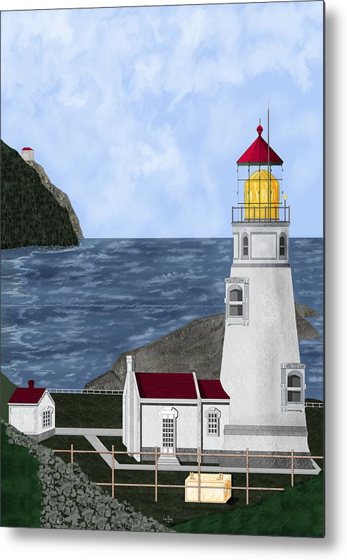 Lighthouse Metal Print featuring the painting Heceta Head Oregon by Anne Norskog