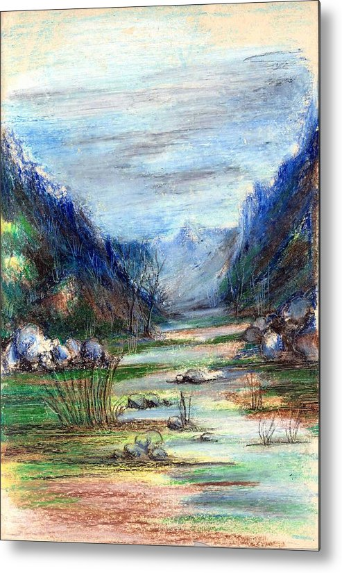Hills Metal Print featuring the painting Hills mountain and a stream by Padamvir Singh