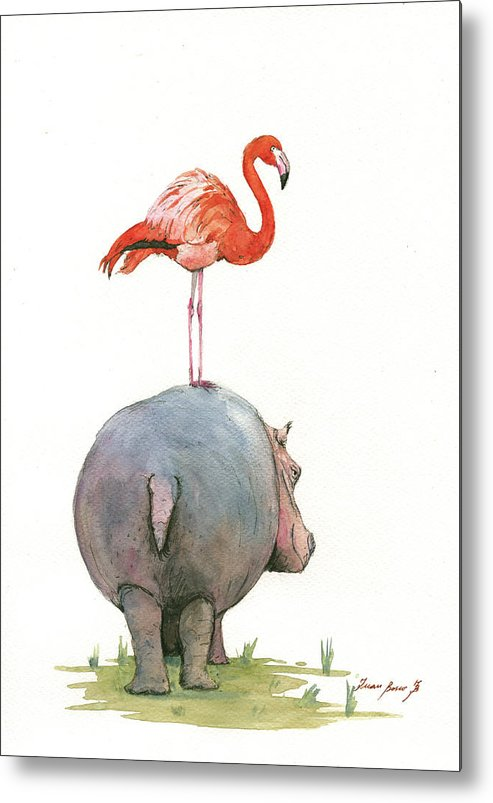 Hippo Art Metal Print featuring the painting Hippo with flamingo by Juan Bosco