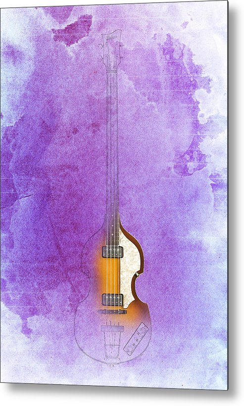 Bass Metal Print featuring the digital art Hofner bass by Drawspots Illustrations