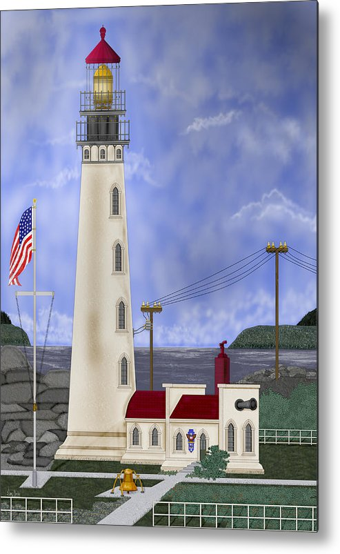 Lighthouse Metal Print featuring the painting Home Port by Anne Norskog