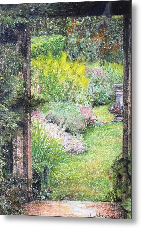 Landscape Metal Print featuring the drawing Jardin by Muriel Dolemieux