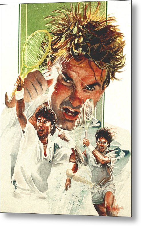 Sports Metal Print featuring the painting Jimmy Connors by Ken Meyer jr