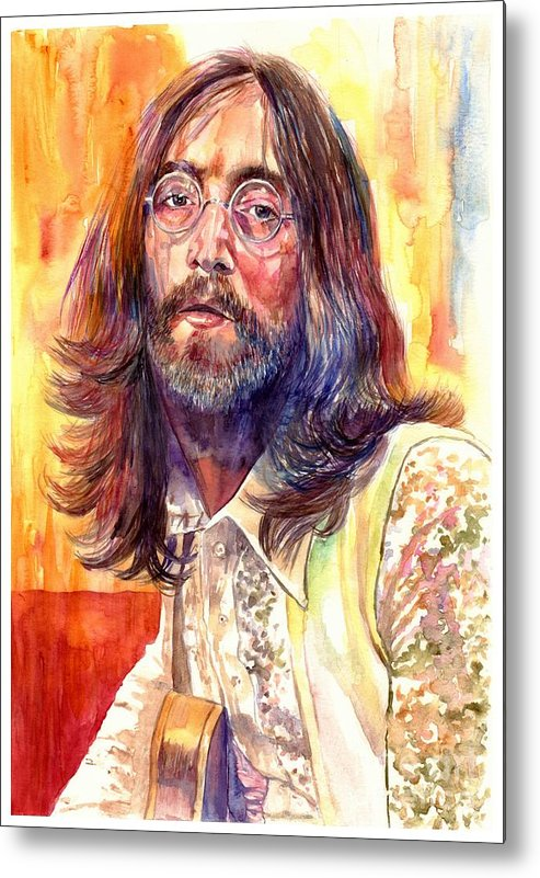 John Lennon Metal Print featuring the painting John Lennon watercolor by Suzann Sines