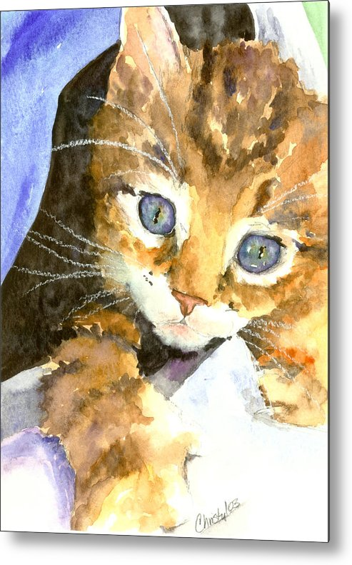 Cat Metal Print featuring the painting Kitten In Blue by Christy Freeman Stark
