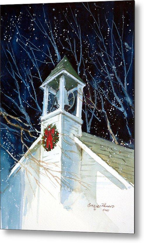 Liberty. Liberty Barn Church. Christmas Metal Print featuring the painting Liberty Christmas by Charles Rowland