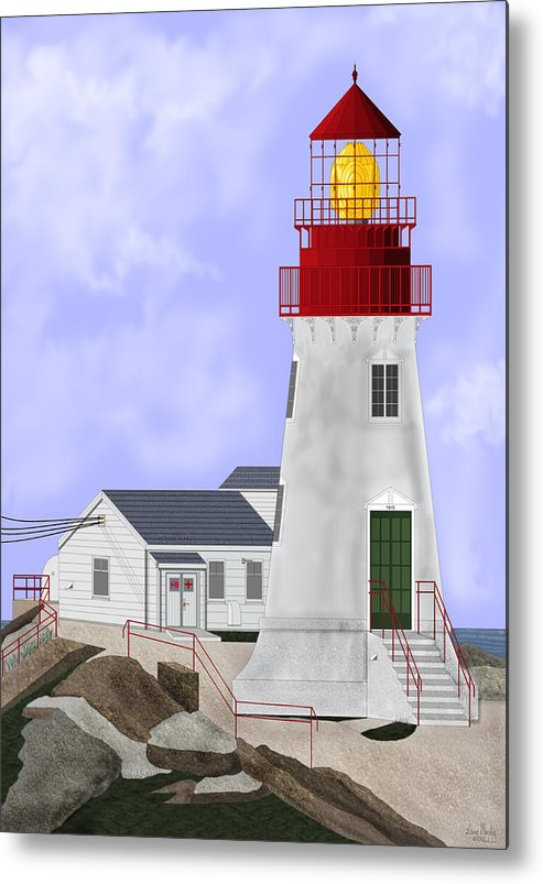 Lighthouse Metal Print featuring the painting Lindesnes Norway Lighthouse by Anne Norskog