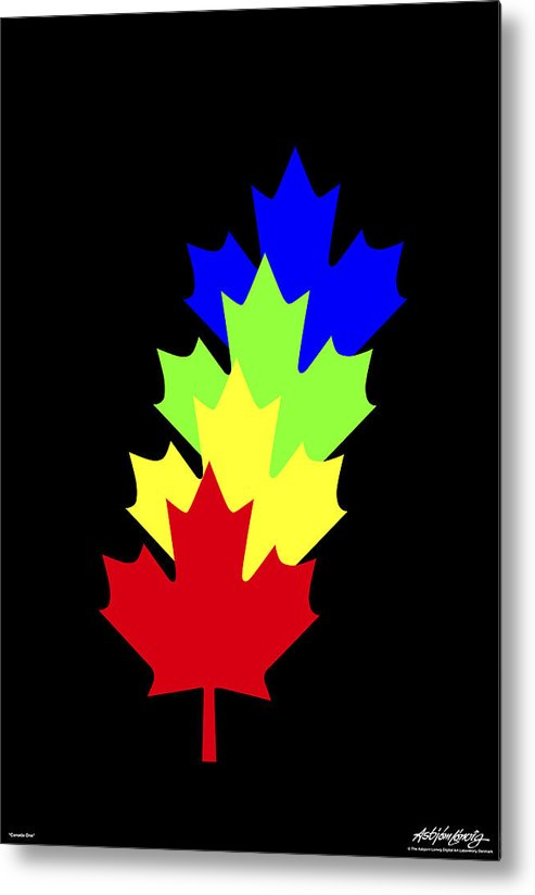 Maple Leaves Metal Print featuring the painting Maple Leaves by Asbjorn Lonvig
