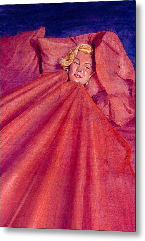 Marilyn Monroe Metal Print featuring the painting Marilyn In Bed by Ken Meyer jr