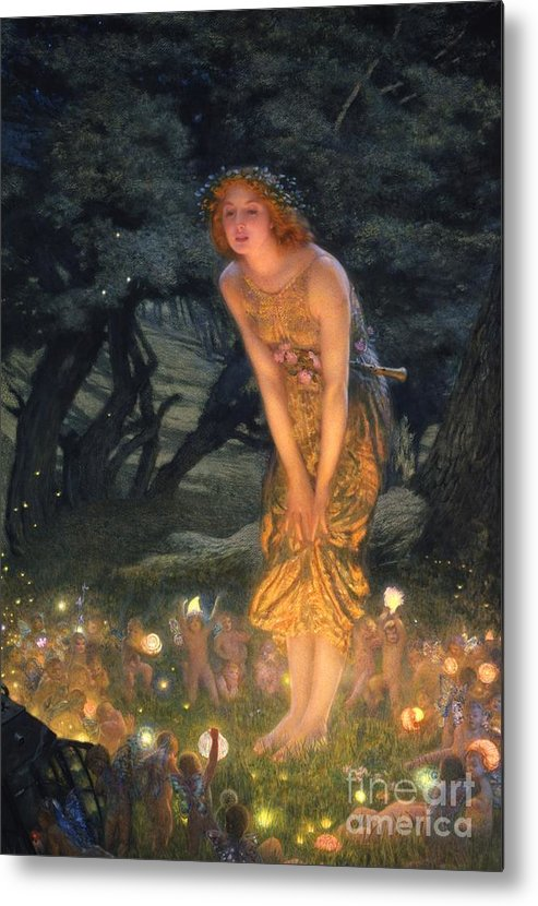 Pre Raphaelite Metal Print featuring the painting Midsummer Eve by Edward Robert Hughes
