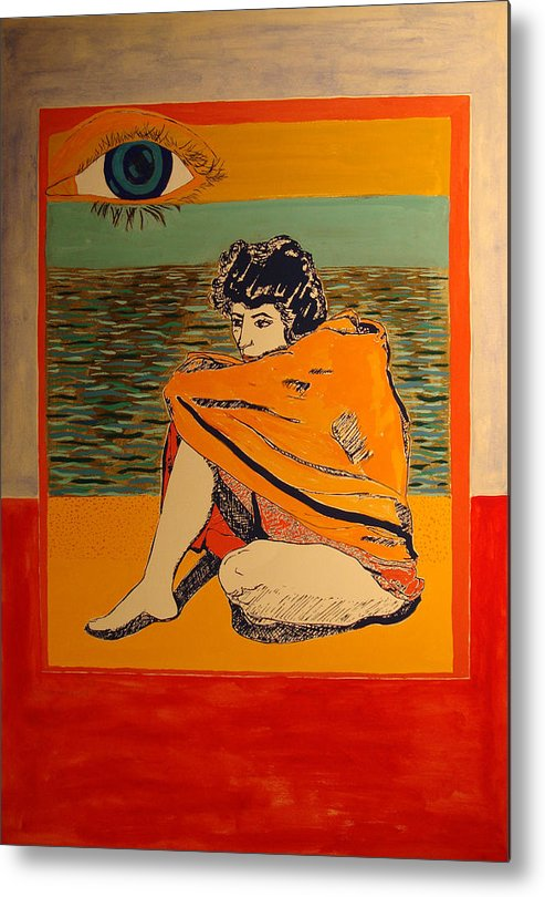 Metal Print featuring the painting Model with blanket colored by Biagio Civale