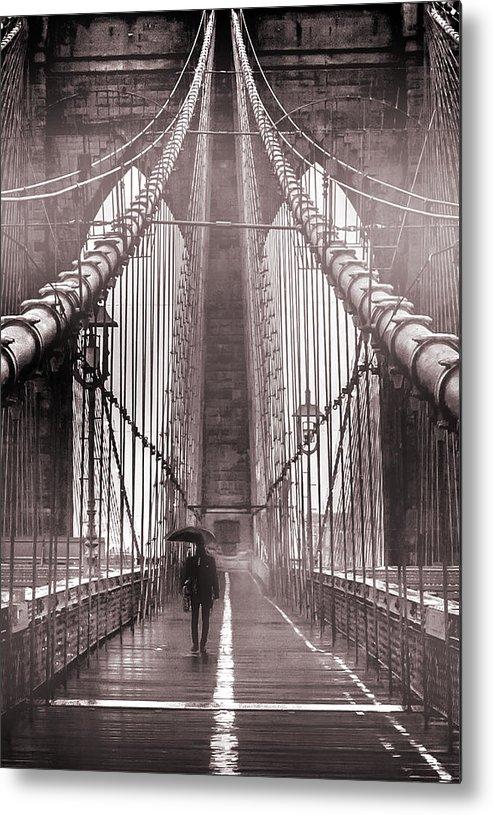 Brooklyn Bridge Metal Print featuring the photograph Mystery Man Of Brooklyn by Az Jackson