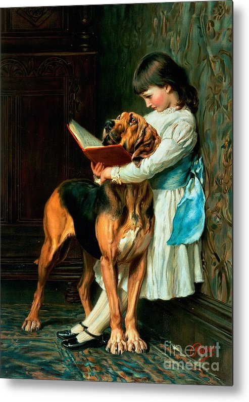 Naughty Metal Print featuring the painting Naughty Boy or Compulsory Education by Briton Riviere