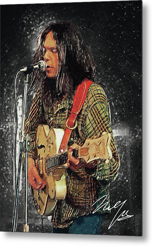 Neil Young Metal Print featuring the digital art Neil Young by Zapista OU