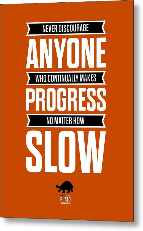 Inspirational Quote Metal Print featuring the digital art Never Discourage Anyone Motivating Quotes poster by Lab No 4