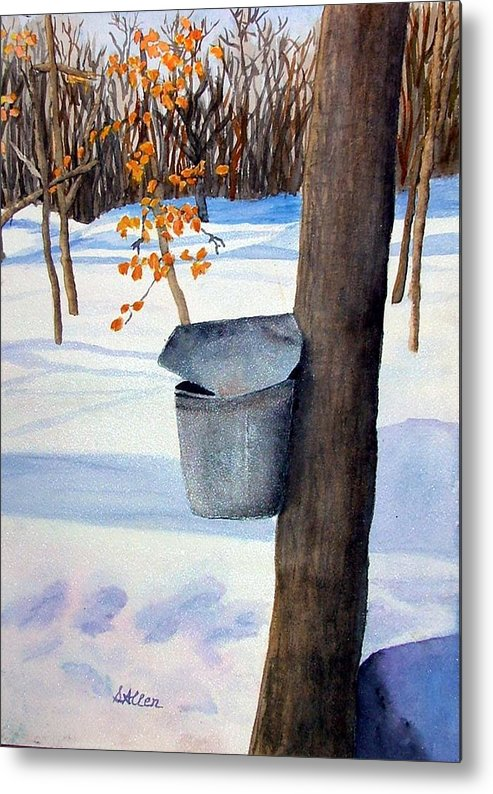 Sap Bucket. Maple Sugaring Metal Print featuring the painting NH Goldmine by Sharon E Allen